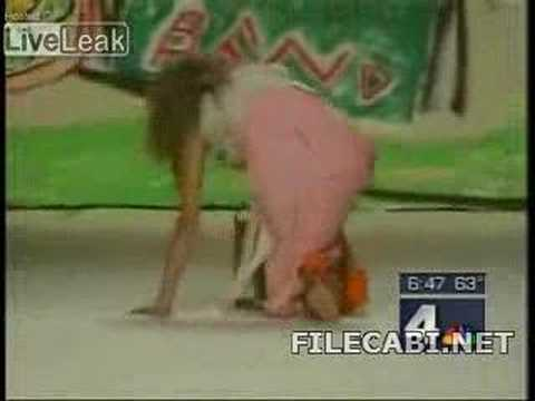 Models Slips Twice - Runway model slipping and sliding at a fashion show, and a news anchor not being able to control himself.