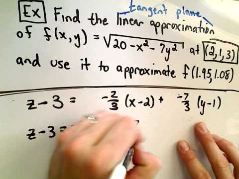tangent - Tangent Plane Approximations. In this video, I give the formula and use it to find a tangent plane approximation. Both the tangent plane and the actual numer...