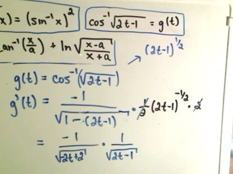 patrickJMT - Inverse Trigonometric Functions - Derivatives - I give the formulas for the derivatives of the six inverse trig functions and do 3 derivative examples. For m...