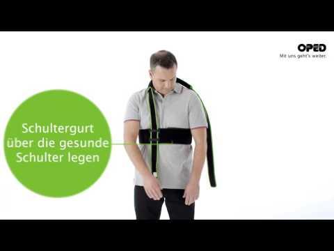 SUPROshoulder: Anlegevorgang Schulter mit Bauchgurt | Schulterkonzept