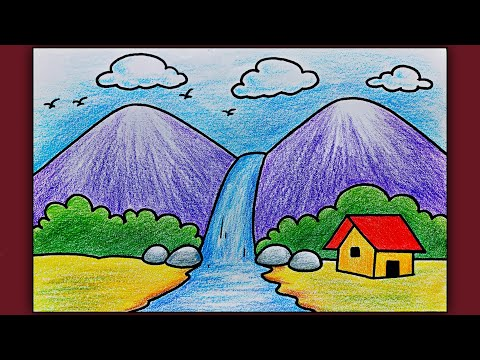 Simple Landscape Scenery Drawing for Beginners | Easy Waterfall Scenery Drawing with Color