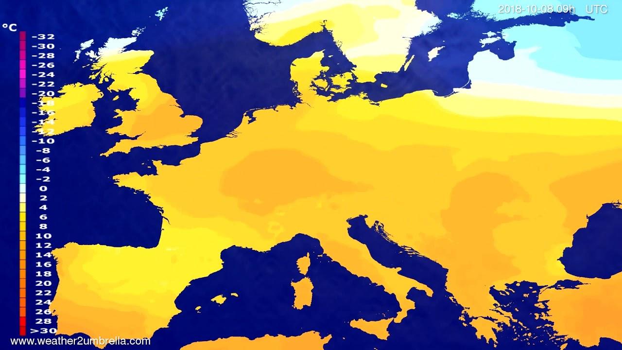 Temperature forecast Europe 2018-10-06