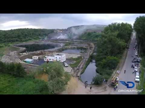 Video of fire and landslide in a landfill near Lviv