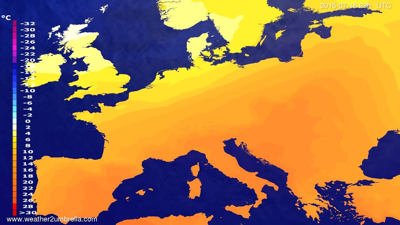 Temperature forecast Europe 2015-07-16