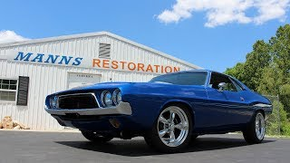"This is the final test drive video for the 1972 Dodge Challenger, from Manns Restoration, in Festus, MO.  This Challenger is powered by a 345 HP 5.7 Liter Hemi V8, backed by an automatic transmission with overdrive.   It also features a Magnum Force front suspension, as well as four wheel disc brakes.   The interior has been swapped from a 2005 Dodge Magnum...the dashboard, gauges, shifter, seats...everything.  It now performs like a modern vehicle in every respect.  We hope you find it interesting, thanks for taking a look!Filmed at Manns Restoration in Festus, MOhttp://mannsrestoration.com/Restoration/Default.aspxThe background track is ""American Outlaws"" by Whiskey Myers.  This video is not monetized, nor do we claim any rights to the song."