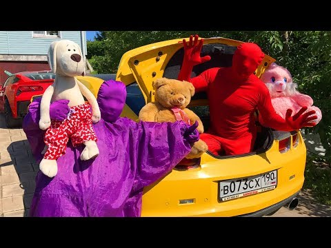 Funny Animals & Purple Fat Man Started Race on Chevy Camaro & Red Man in Trunk Car for Kids