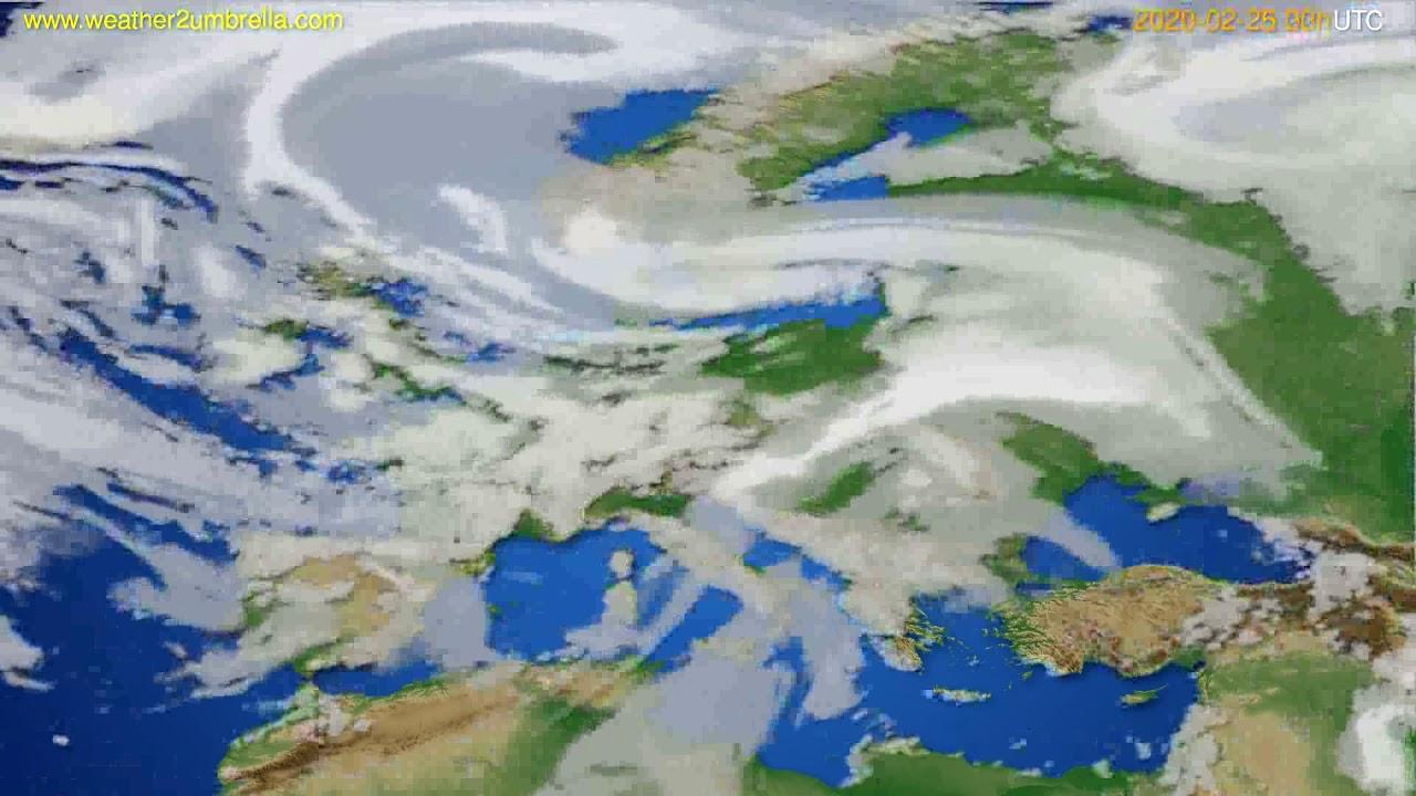 Cloud forecast Europe // modelrun: 00h UTC 2020-02-25