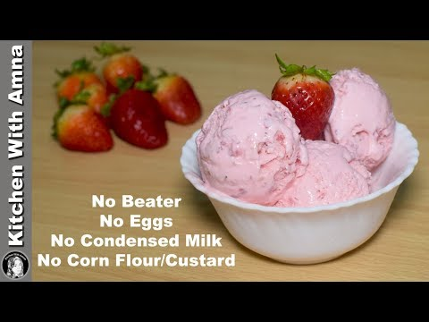 Rich Strawberry Ice Cream Recipe - Eggless Ice Cream Without Machine - Kitchen With Amna