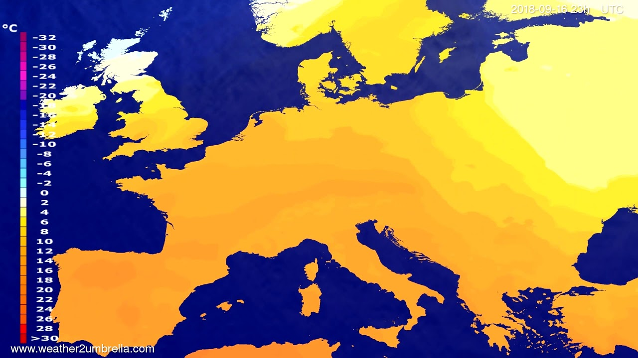 Temperature forecast Europe 2018-09-13