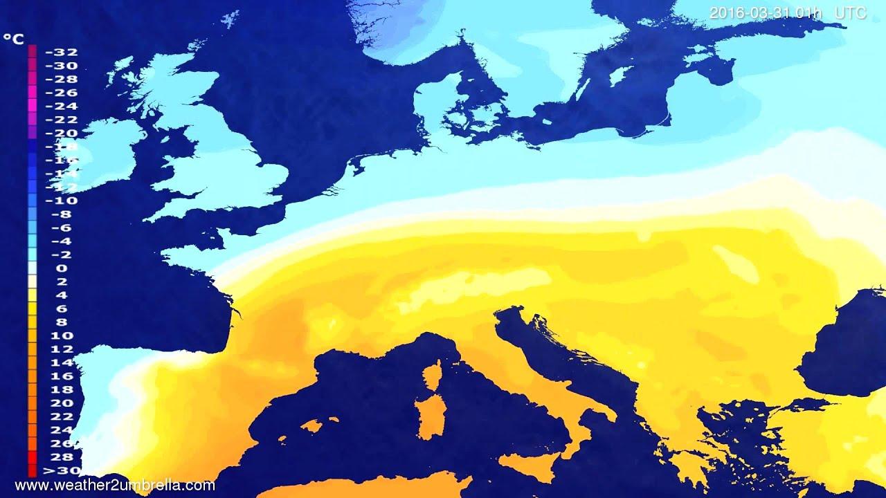 Temperature forecast Europe 2016-03-27