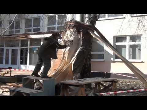 Torzo zrezanej starej vŕby sa rukami M. Krajňáka mení na sochu anjela