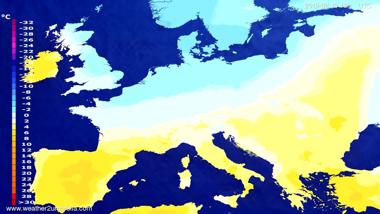 Temperature forecast Europe 2019-02-18