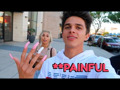 WEARING LONG ACRYLIC NAILS FOR 24 HOURS!! (W/ MyLifeAsEva) | Brent Rivera