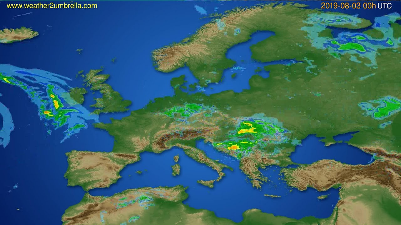 Radar forecast Europe // modelrun: 12h UTC 2019-08-02