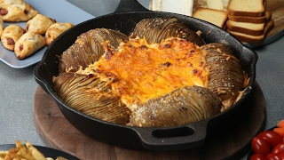 Loaded Hasselback Potatoes And Dip by Tasty