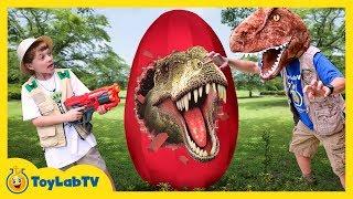 Giant T-Rex Dinosaur Surprise Egg! Toys Opening for Children In Family Fun Kids Dinosaurs Video