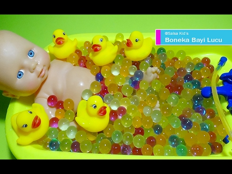 Boneka Bayi Mandi Bola Jelly Bersama Bebek 💚 Baby Doll Bath Time With Duck