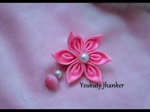 kanzashi tutorial - spilla con fiore
