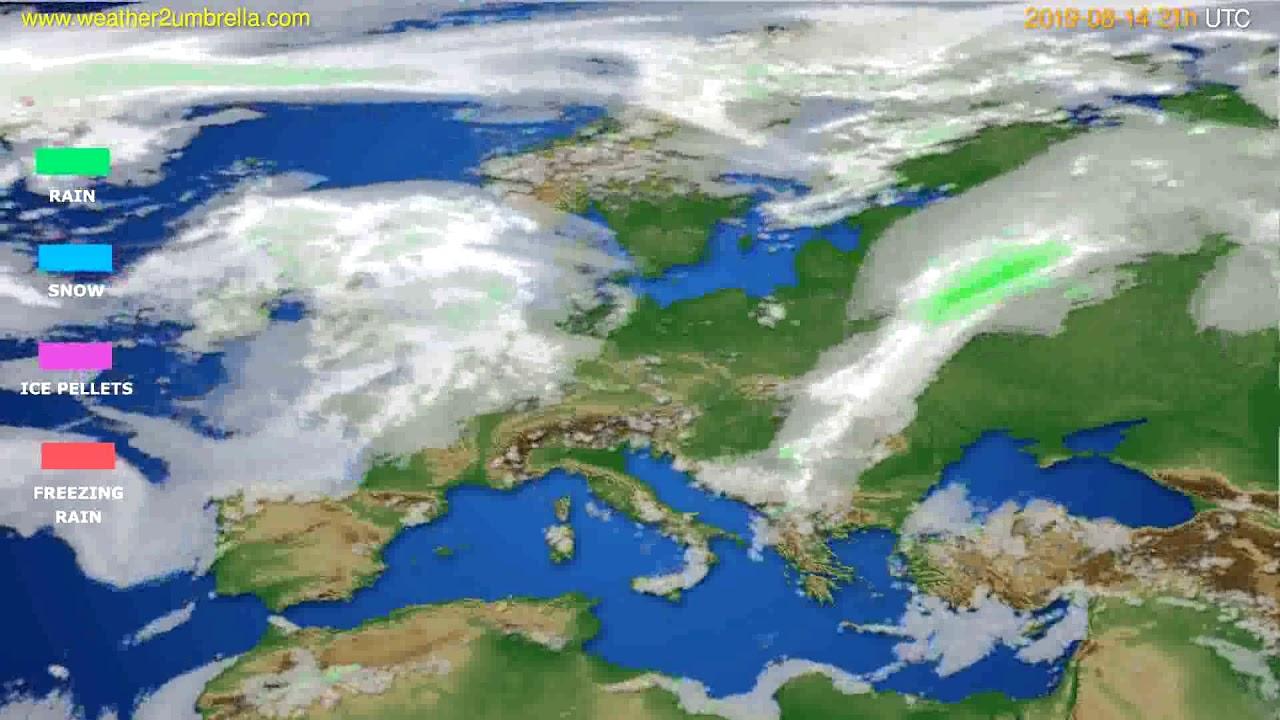 Precipitation forecast Europe // modelrun: 00h UTC 2019-08-13