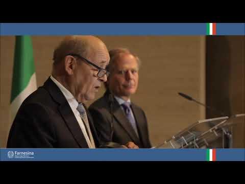 Punto stampa del Ministro degli Affari Esteri Enzo Moavero Milanesi con il collega francese Jean-Yves Le Drian, a seguito della riunione bilaterale in Farnesina