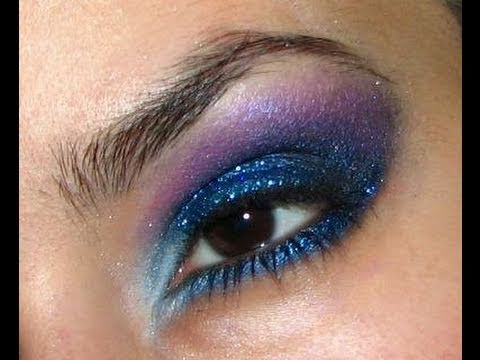 My New Years Eve Makeup Look, Blue and Purple Glitter Smokey Eye