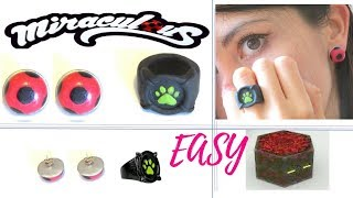 Miraculous ladybug earrings (aretes) cat noir ring (Anillo)Tuotorial Polymer clay cold porcelain