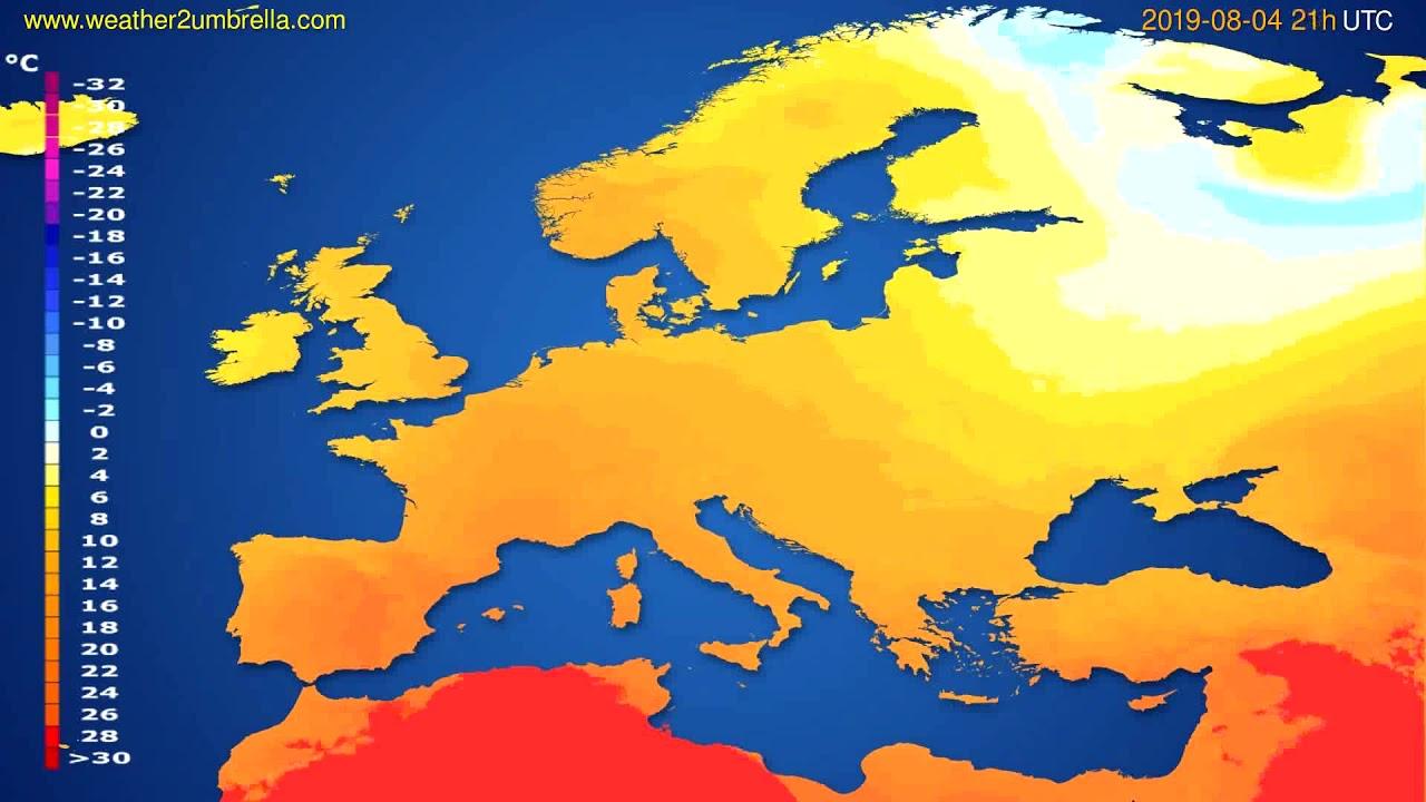 Temperature forecast Europe // modelrun: 00h UTC 2019-08-03