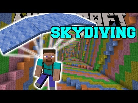 Minecraft: SKYDIVING MOD (PARACHUTE DOWN THE DROPPER!) Mod Showcase