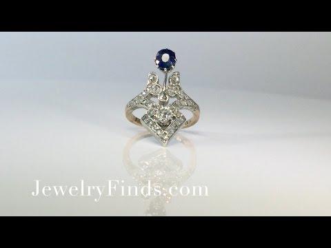 Fun 1.30ct t.w. Art Nouveau Sapphire & Old European Cut Rose Cut Diamond Ring 10k/SS