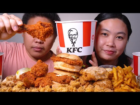 HOT & CRISPY Chicken + Spicy Fries + Zinger Burger + Cracklings + Hotshots from KFC Mukbang