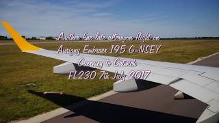 A flight on Aurigny's Embraer 195 from Guernsey to London Gatwick FL230 and very smooth. Good weather. 121 passengers, just...