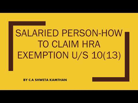ITR-How to show HRA exemption in tax return u/s 10(13)-By CA Shweta Kamthan