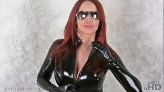 Black Latex Catsuit&Sunglasses&White Fur (Photoshoot) - Bianca Beauchamp