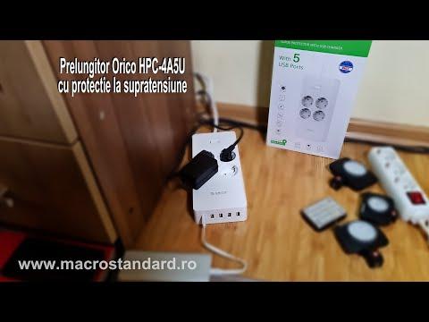 Prezentare prelungitor Orico HPC-4A5U cu protectie la supratensiune, 4 x CEE 7/3/Schuko, 5 x USB