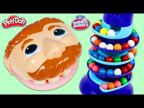 LEARN COLORS & Numbers with Mr. Play Doh Head and Spiral Rainbow Gumball Dispenser!