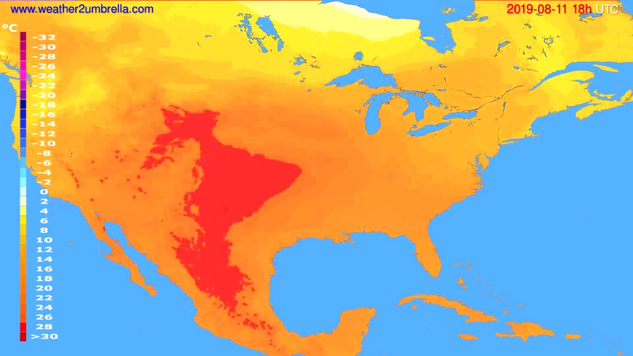 Temperature forecast USA & Canada // modelrun: 12h UTC 2019-08-09