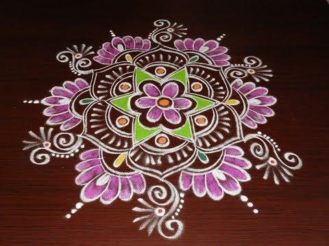 Video Beautiful Lotus Rangoli Designs 2018 * new Freehand Sankranthi Muggulu  * Latest Kolam with colors download in MP3, 3GP, MP4, WEBM, AVI, FLV January 2017