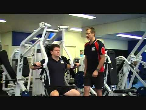 FITCollege - http://www.FitCollege.edu.au/ Today our Fit College Trainer Mark teaches you the correct technique for when you exercise on the chest press machine. Watch cl...