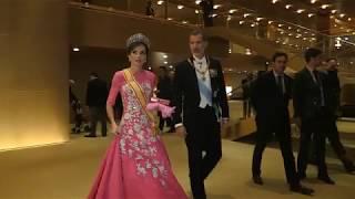 SS.MM. los Reyes se dirigen a la cena de Gala por la entronización del emperador Naruhito