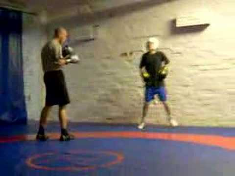 Aapo - Two young guys boxing. Aapo 45kg (with white helmet) Miikka 70kg Thats fare enought.