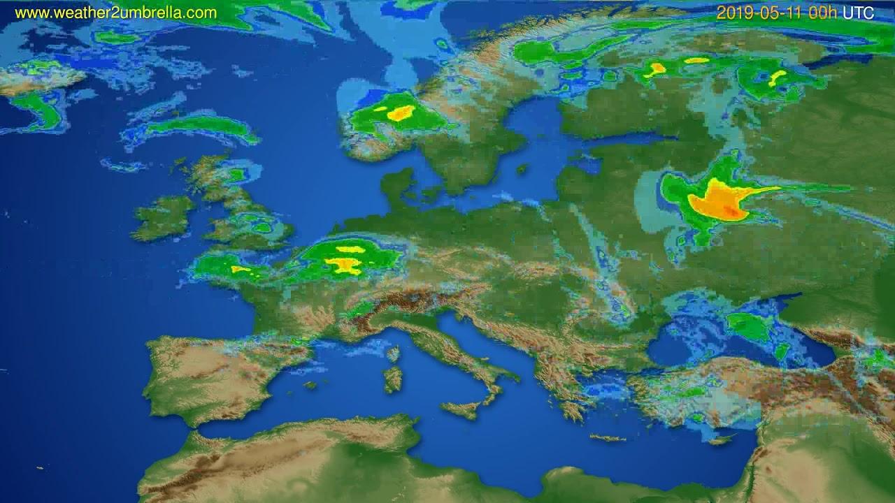 Radar forecast Europe // modelrun: 12h UTC 2019-05-10