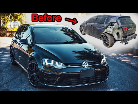 Rebuilding A WRECKED And Modded 2016 MK7 Volkswagen Golf R In 11 Minutes!
