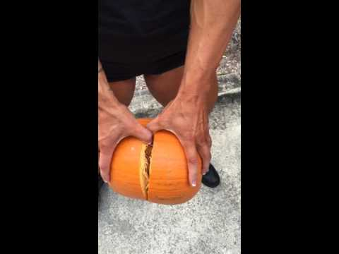 Woman Crushes a Pumpkin Open With her THIGHS!!