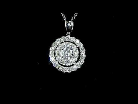 Lady's 18k White Gold 1.66ct (TDW) Cluster Diamond Pendant