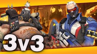 Overwatch 3v3 gameplay! What happens you have a roadhog on one team, a soldier on the other, and they're both trying to hide from each other?