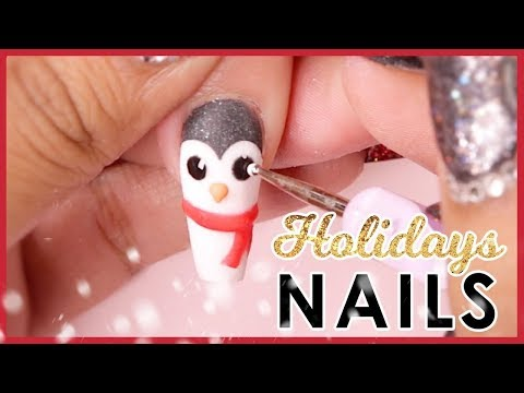 Gel nails -  Holiday 3D Acrylic Nail Art Tutorial