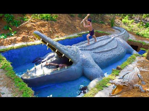 Build Underground Swimming Pool Water Slide Crocodile Around Secret Underground House