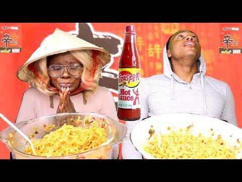 BIG BOWL SPICY NOODLE ASMR EATING {CHALLENGE} 4 Pk | Mom Vs Son