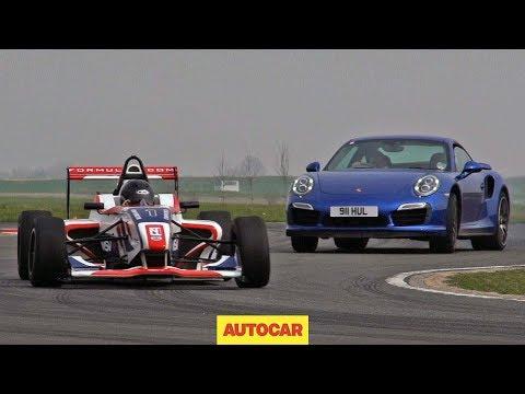 porsche 911 turbo s vs formula 4 car!