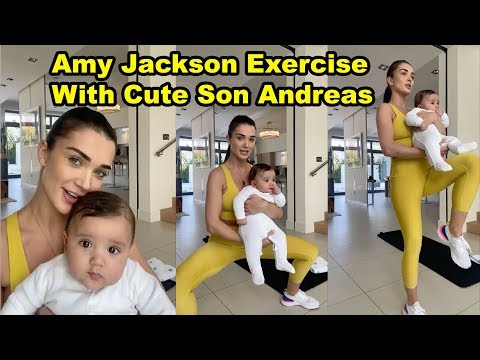 Amy Jackson Live Video With Cute Son Andreas During Lock Down At Home   Cutest Baby Workout Video